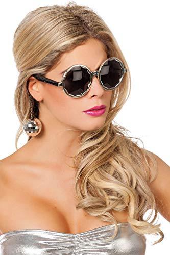 Karneval-Klamotten Disco Brille mit Discokugeln Silber Party Brille 70er Jahre