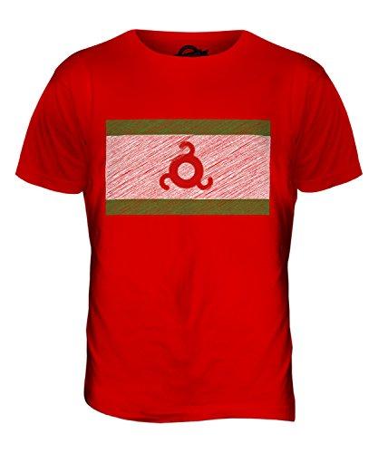 CandyMix Ingushetia Kritzelte Flagge Herren T Shirt Rot