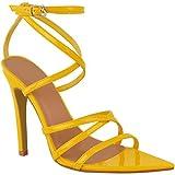 Fashion Thirsty Damen Sandaletten mit Knöchelriemen - Minimalistisches Design - High Heels - Gelb Lackoptik - EUR 39