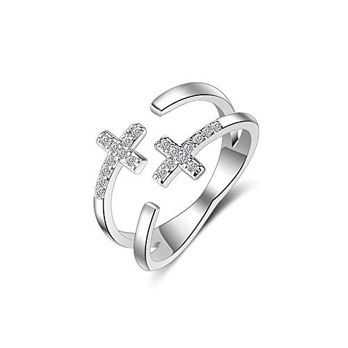 Luziang Lady Ring Double Cross Diamant Öffnung Ring-Romantisches Modedesign