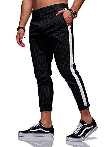 Rello & Reese Hose Stripe Slim Fit Freizeithose Chino Anzug JN-1003 [Schwarz, W30] -