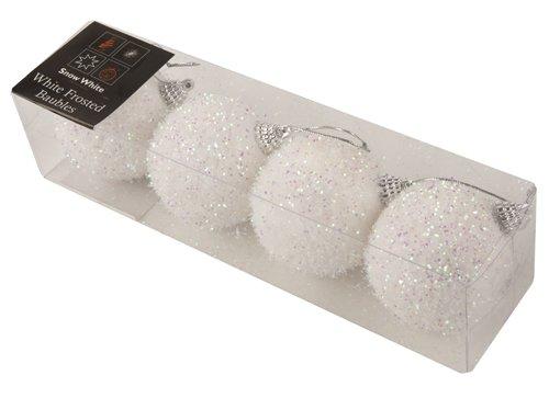 4pack 7cm bianco satinato palle di Natale glitter PM187