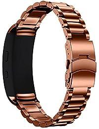 happytop de la pulsera 18mm acero inoxidable pulsera correa de muñeca relojes de repuesto para Samsung Gear Fit 2sm-r360, hombre, café, S