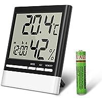 EIVOTOR Digitaler Thermometer Hygrometer Feuchtigkeitsmesser Temperaturfühler mit LCD Anzeige ℃/℉ Temperaturüberwachung Wecker Temperatur- und Feuchtigkeitsmonitor mit Datumanzeiger für Innen Außen