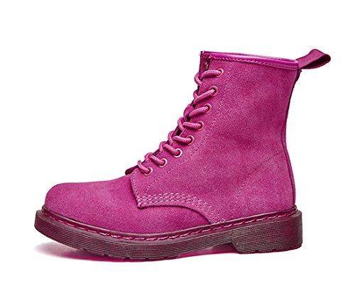 Honeystore Schnür Stiefeletten Worker Boots Profilsohle Schnürschuhe Schlupfstiefel Combat Boots Leder Winter Stiefel Schuhe Fuchsie 35 EU
