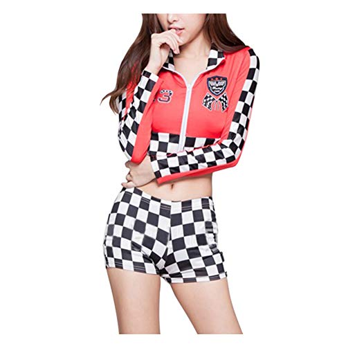 Meijunter Damen Cheerleader Kostüm - Lange Ärmeln Race Car Driver Erwachsene Halloween Queen Uniform Jumper ()