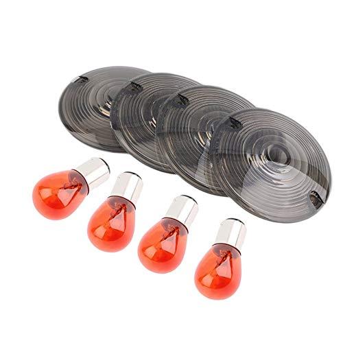 Amber Bulb Cover (4pcs Smoke Blinker Light Lens Cover & Bulb Für Harley Touring Road King Smoke)