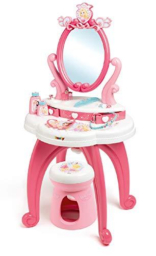 Smoby - 320222 - Disney Princesses - Coiffeuse 2 en 1 + Tabouret - 10 Accessoires