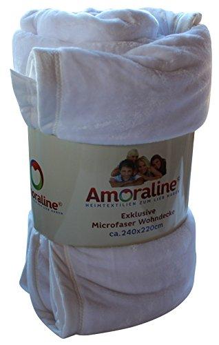 Amoraline® Wohndecke 400gsm Größe: ca. 240 x 220 cm Farbe: snow white unifarbene exklusive XXL Mikrofaser Microfaser Flanell Decke mit Einfassung Kuscheldecke Tagesdecke Sofaüberwurf