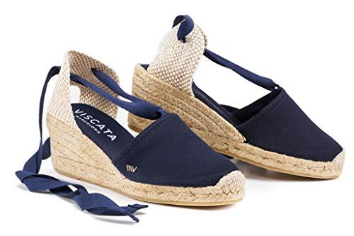 VISCATA  Classic Espadrilles Heel Made in Spain, Navy Blue - 37 M EU