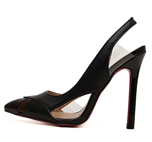 YMXJB Europe et couleurs mélangées hollow point femme sandales hauts talons Black