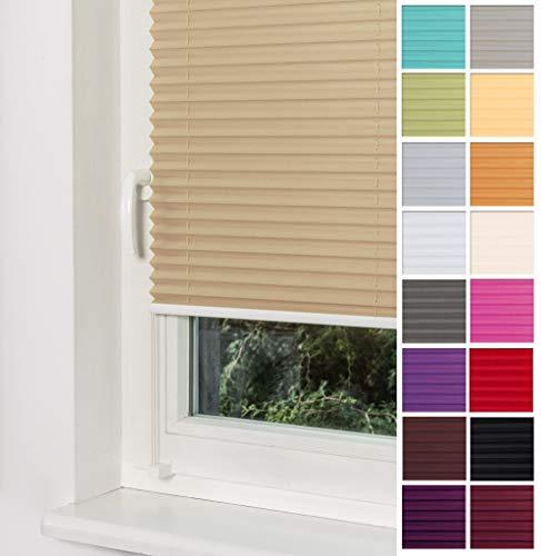 Home-Vision Premium Plissee Faltrollo ohne Bohren mit Klemmträger / -fix (Beige, B55cm x H120cm) Blickdicht Sonnenschutz Jalousie für Fenster & Tür