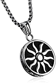 Yellow Chimes Powerful Sun Steel by Yellow Chimes Pendant for Men (Silver)(YCSSPD-G1130-BK)