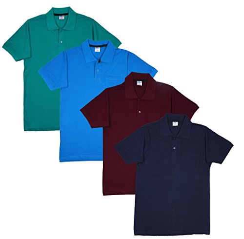 Fleximaa Men's Cotton Polo Collar T-Shirts With Pocket Combo Pack (Pack of 4) - Blue, Navy Blue, Reliance Green & Maroon Color.
