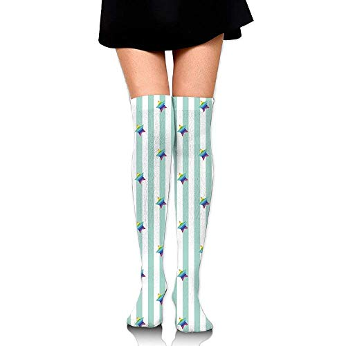 OQUYCZ Women Retro Style Pattern with Vertical Stripes and Rainbow Colored Stars Joyful Hipster Concision High Boot Socks