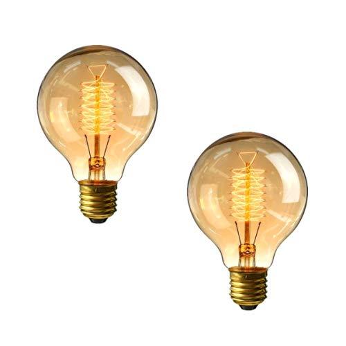 lampadine vintage 40w, e27 lampadina edison vintage dimmerabile lampada g80 retro filamento lampade decorativa globo bianco caldo 2700k, 2 pezzi, by brightfour