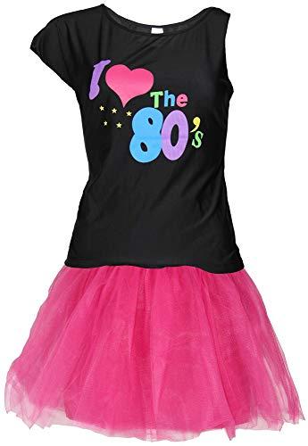 FOXXEO 80er Jahre Damen Kostüm - pinkes Tutu und schwarzes neon Shirt - Größe S-XXL - Ballet Fasching Karneval Tüll Rock kurz, Größe:XXL