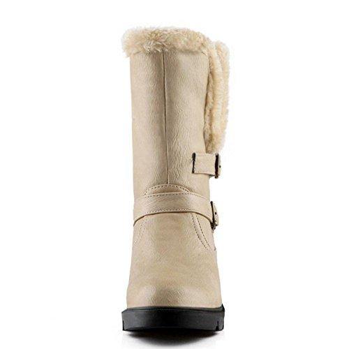TAOFFEN Damen Winter warm Schnee Stiefel Mit Schnalle Aprikose