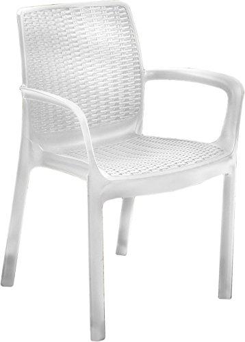 Chaise résine Bali Blanc Monobloc c/accoudoirs