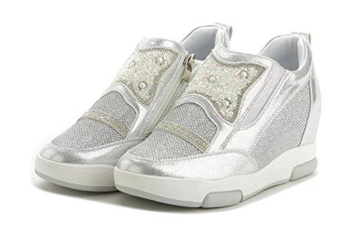 Damen Sportschuhe Sneakers Low-Top Bequeme Freizeit Zipper Sneakers-Wedge Keilabsatz Silber
