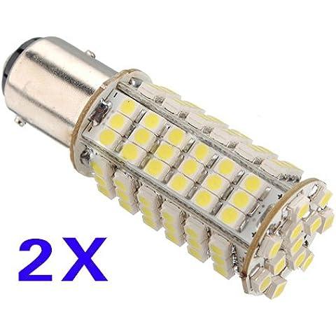 SODIAL(R) 2x 1157 P21 / 5W 3528 102 SMD LED de parada del freno del coche de cola de la senal de la lampara de la bombilla blanca