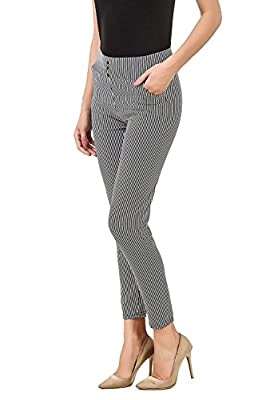 Infispace Soft Comfortable Premium Quality High Waist White & Black Striped Jegging Casual/Office Wear