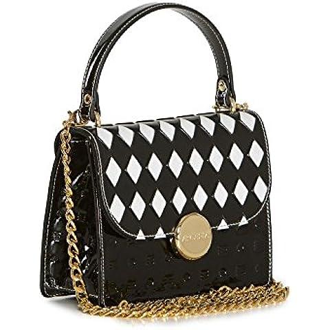 Arcadia Mono bolso de cuero italiano de mini hombro - Negro Blanco