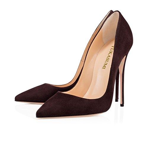 EDEFS Femmes Artisan Fashion Escarpins Délicats Classiques Elégants Pointus Des Couleurs Variées Chaussures à talon de 120mm Bleu Café