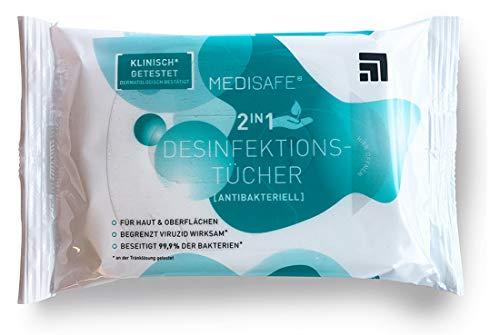 Medisafe Desinfektionstücher 2in1 zum Desinfizieren von Händen und Oberflächen - 1 Pack (15 Feuchttücher), Flächendesinfektion, Desinfektion, wiederverschließbar