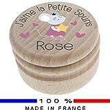 Boite à Dents de Lait en bois - Personnalisée avec le prénom de l'enfant + Texte personnalisable - Dessin de la petite souris - Fabrication française - Boîte à offrir en cadeau à une Fille