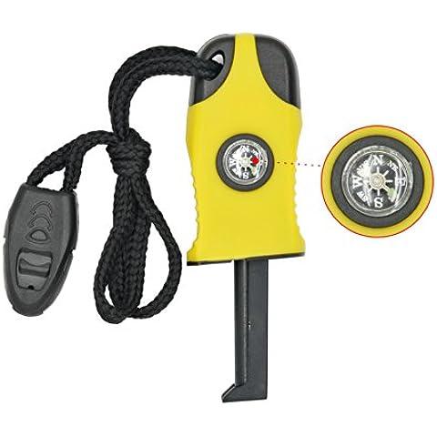 Grenhaven - Iniciador de fuego compacto 3 en 1 - Brújula, Señal SOS y silbato - Ideal para actividades al aire libre y kits de supervivencia - 2.000 usos - Magnesio - Amarillo - 6 cm