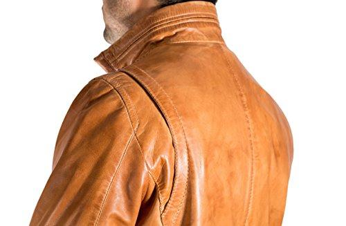 Cuoio del Mens reale morbida Classico elegante casuale Giacca del retro dell'annata stile motociclista Marrone chiaro