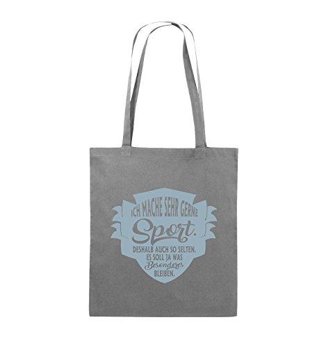 Comedy Bags - Ich mache sehr gerne sport deshalb auch so selten - Jutebeutel - lange Henkel - 38x42cm - Farbe: Schwarz / Silber Dunkelgrau / Eisblau