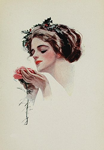 Harrison Fisher - American Girls in Miniature 1912 Holly girl with rose Kunstdruck (45,72 x 60,96 cm) -