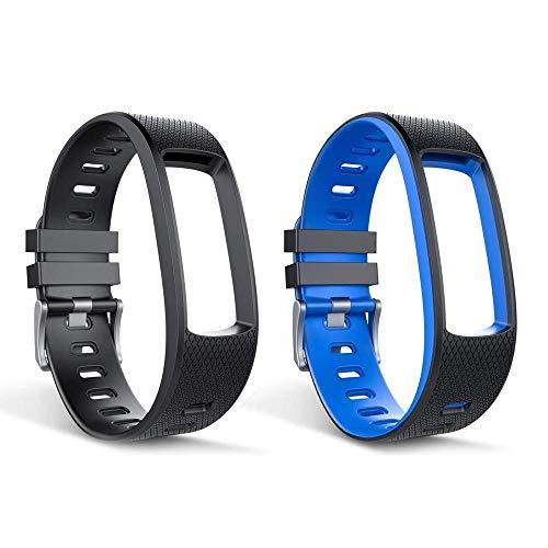 endubro Cinturino per Fitness Tracker i3HR & i7HR | i6HR | i6HR C & Molti Altri Modelli Realizzato in TPU Skin-Friendly con Chiusura antiallergica (Set Nero + Nero/Blu)