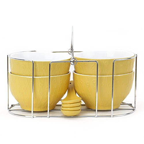 @home by Nilkamal Yellow Stoneware Set of 4 Soup Bowls with Stand and Spoons  available at amazon for Rs.549