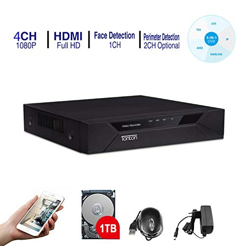 Tonton CCTV 4CH Full HD 1080P DVR Digital Videorecorder Receiver mit 1TB Festplatte, Netzwerk DVR HDMI VGA Ausgang, unterstützt TVI/AHD/CVI/Analog Kamera/IP Kamera und analoge Kamera -