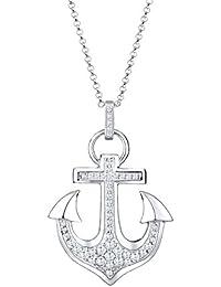 Elli Damen-Kette mit Anhänger Anker Maritim 925 Silber Zirkonia Brillantschliff weiß - 0103991715
