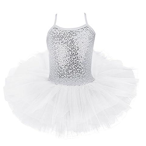 YiZYiF Mädchen Ballettkleid Ballett Trikot Mädchenkleid (110-116, Weiß mit