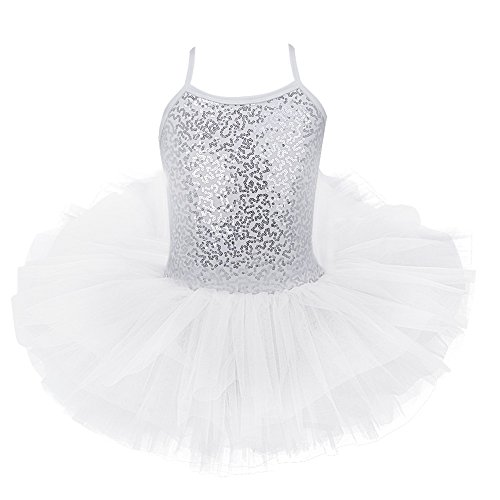 ettkleid Ballett Trikot Tanzkleid Ballettanzug Tüll Festzug Mädchenkleid 98 104 116 128 140 152 (116-122, Weiß mit Pailletten) ()