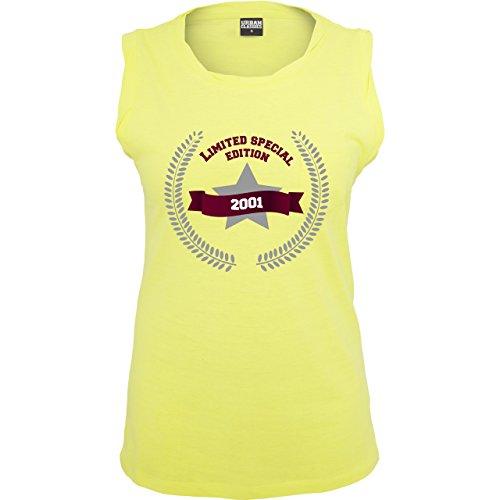 Geburtstag - 2001 Limited Special Edition - ärmelloses Damen T-Shirt mit Brusttasche Neon Gelb
