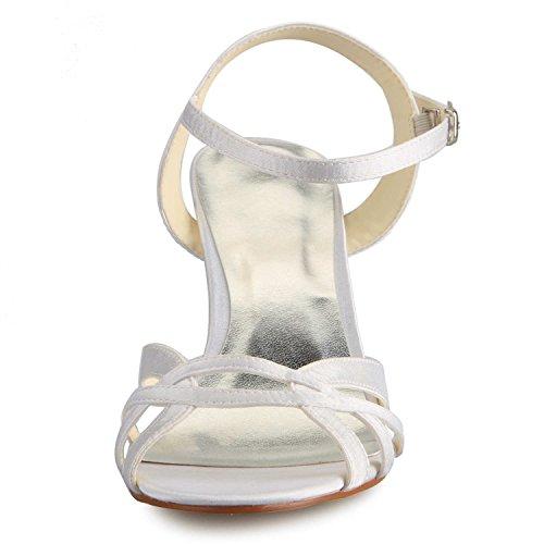 JIA JIA Scarpe da Sposa da Donna 14111 Open Toe Mid Heel Sling Back Sandali Satinati Scarpe da Sposa Bianco