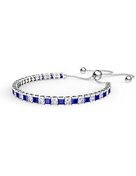 Prinzessin Saphir und Diamant CZ Silber Fidschi Freundschaft Tennis Armband