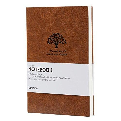 BRAUN Ruled Notebook/Linert Notizbuch Mit Dickem Papier (125g/m²) & Markierungsband A5,Soft Feel Notizbuch - Lemome (Liniertes Papier Journal)