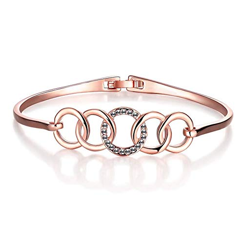 Shining Diva Fashion 18k Rose Gold Stylish Bangle Bracelet for Girls and Women