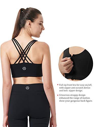 Zeronic Damen Sport-BH mit Reißverschluss vorne, mittelgroß, stoßfest, mit Riemen, für Workout - Schwarz - X-Large - 5