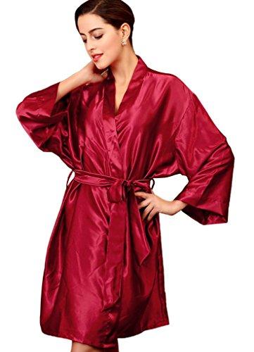 Feoya – Robe de Chambre Stuyle de Kimono Chemise de nuit Pyjama manches Longues en Satin Soie imitation avec une ceinture Taille 36-40 – couleur disponible Bordeaux