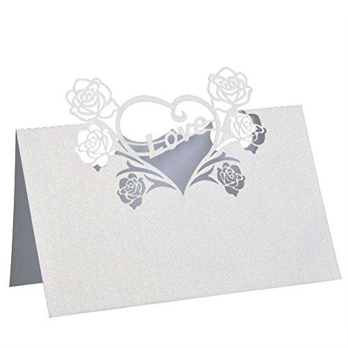 e Herz Muster Hochzeit Tisch Gast Name Ort Karten (weiß) (Name Ort Karten)