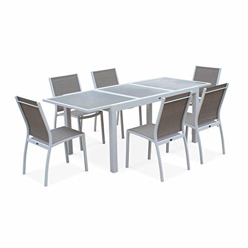 Alice's Garden Salon de Jardin Table Extensible - Orlando Taupe - Table en Aluminium 150/210cm, Plateau de Verre, rallonge et 6 Chaises en Textilène