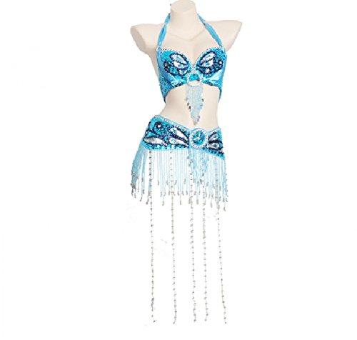 Professionel Bauchtanz Kostüme Für Frauen Performance Tanz-Outfit Set handgefertigt BH-Halfter und Gürtel Lange Fringe Perlen, Blue, XL (Blue Zeitgenössischen Tanz Kostüm)